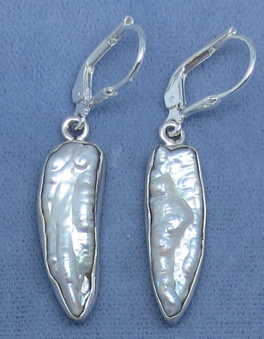 Biwa Pearl Earrings - Leverback - Sterling Silver - White - Long Dangles - 171920
