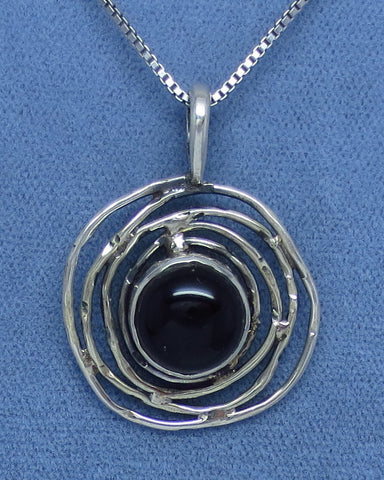 Genuine Black Onyx Necklace - Sterling Silver - Bird Nest - Petroglyph Moon Sun - Handmade -- B171235