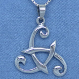 Celtic Triskellion Blades Pendant Necklace - Sterling Silver - M119