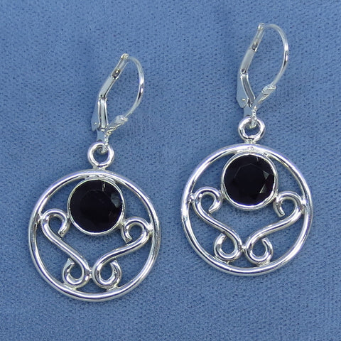 Faceted Natural Black Onyx Sterling Silver Leverback Earrings - 171144