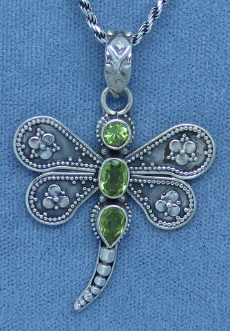 Large Genuine Peridot Dragonfly Necklace - Sterling Silver - Bali Design -- d262113