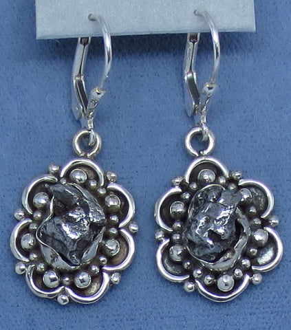 Meteorite Campo del Cielo Earrings - Sterling Silver - Bohemian Design - Filigree - Handmade - 161906-18