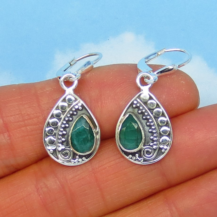 Small 2.1ctw Natural Emerald Earrings Sterling Silver Leverback Dangles Pear Shape Raw Genuine Emerald Minimalist Dainty Boho Gypsy Bali 181853