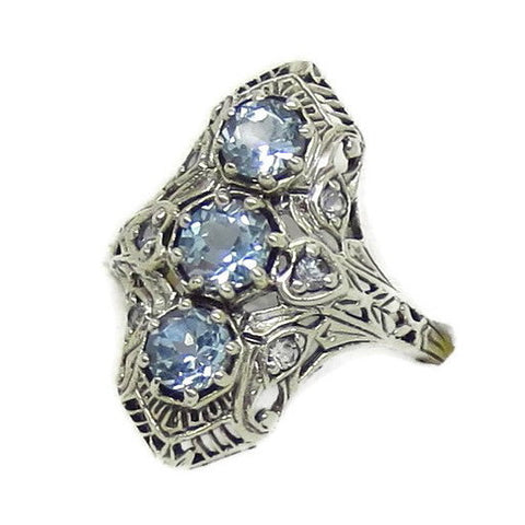 3 Stone Genuine Aquamarine Ring - Sterling Silver - Victorian Filigree - Deco - Reproduction - Tall Ring - c152608