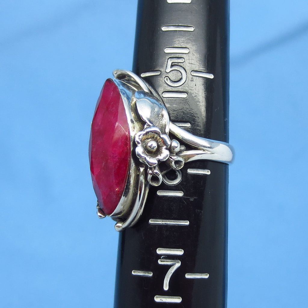 5 0ct Size 5-3/4 Genuine Ruby Ring - Sterling Silver - India