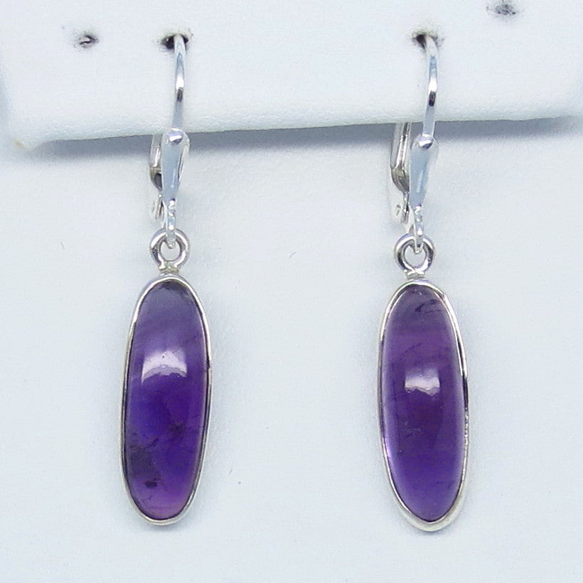 Natural Amethyst Earrings - Sterling Silver - Dainty Long Ovals - 18 x 6mm - Genuine Purple Amethyst - Small - su171106