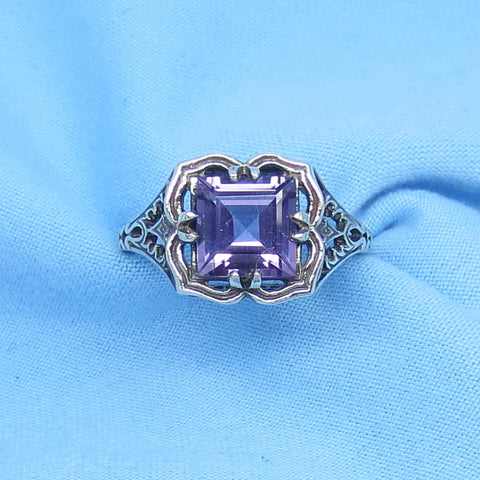 Size 6 Genuine Amethyst Ring - Victorian Filigree - 1.7ct Princess Cut - Sterling Silver - Reproduction - Square - cc152492