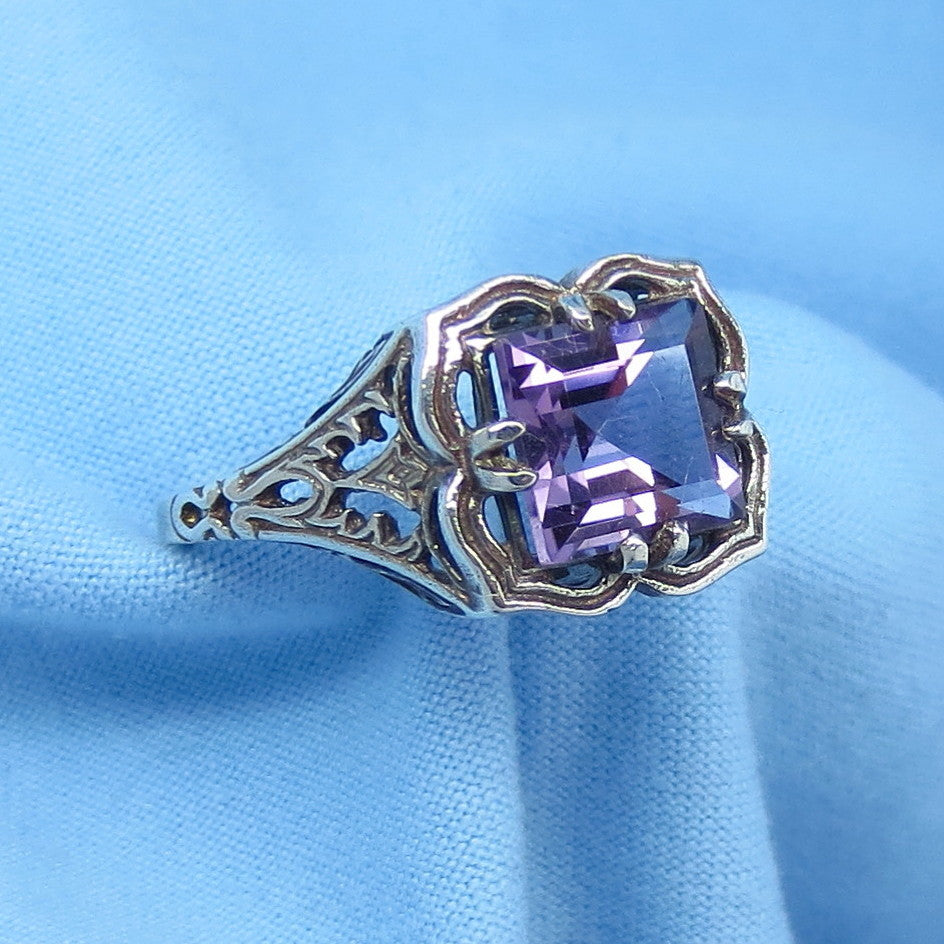 Size 4-3/4 Genuine Amethyst Ring - Victorian Filigree - 1.7ct Princess Cut - Sterling Silver - Reproduction - Square - cc152491