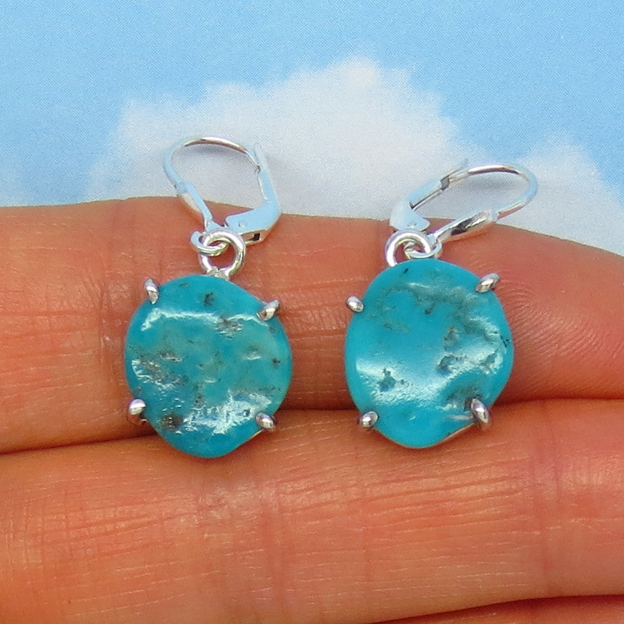 Natural Arizona Turquoise Nugget Leverback Earrings - 14 x 13mm - 4.1g - Sterling Silver - Simple - Genuine Raw Rough Nugget - 151316D