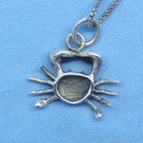 3-D Sterling Silver Cancer Crab Necklace - Sea Life - Ocean - Beach - Zodiac - Horoscope - Astrology - c180708