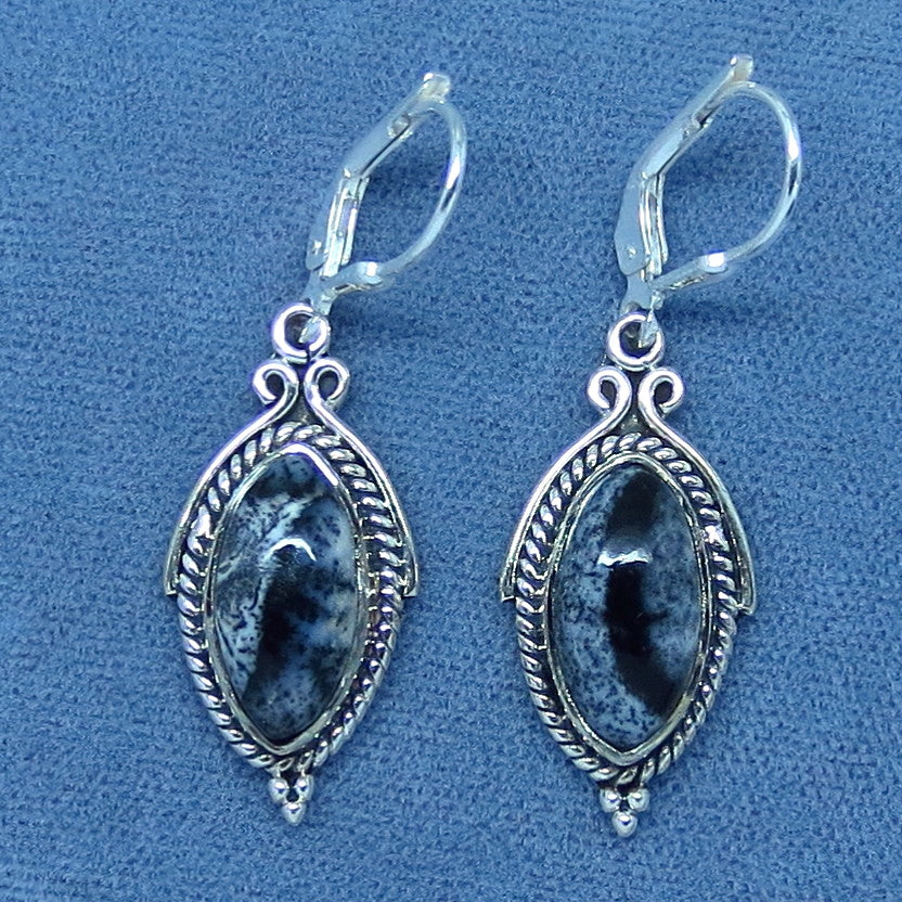 Dendrite Opal Earrings - Merlinite - Leverback - Sterling Silver - Marquise Cut - Agate - Victorian Design - 201801