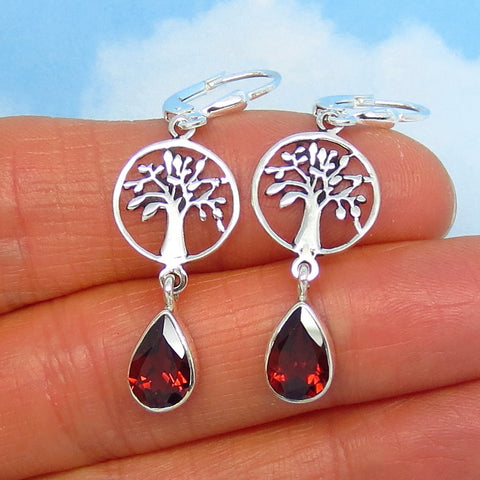 2.6ctw Natural Garnet Tree of Life Earrings - Leverback - Sterling Silver - 9 x 6mm Pear Shape - Genuine Garnets - su161446