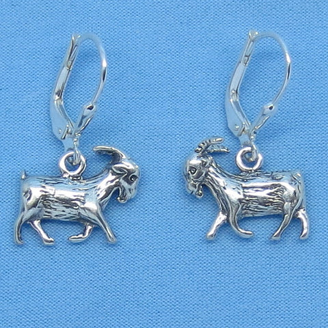 Sterling Silver Goat Earrings - Leverback - Handmade - 3-D -- g160906