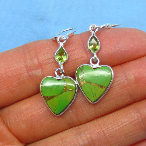 Mojave Green Copper Turquoise Heart Earrings - Leverback - Sterling Silver - Genuine Peridot Accent - Small - Long Dangles - su171536