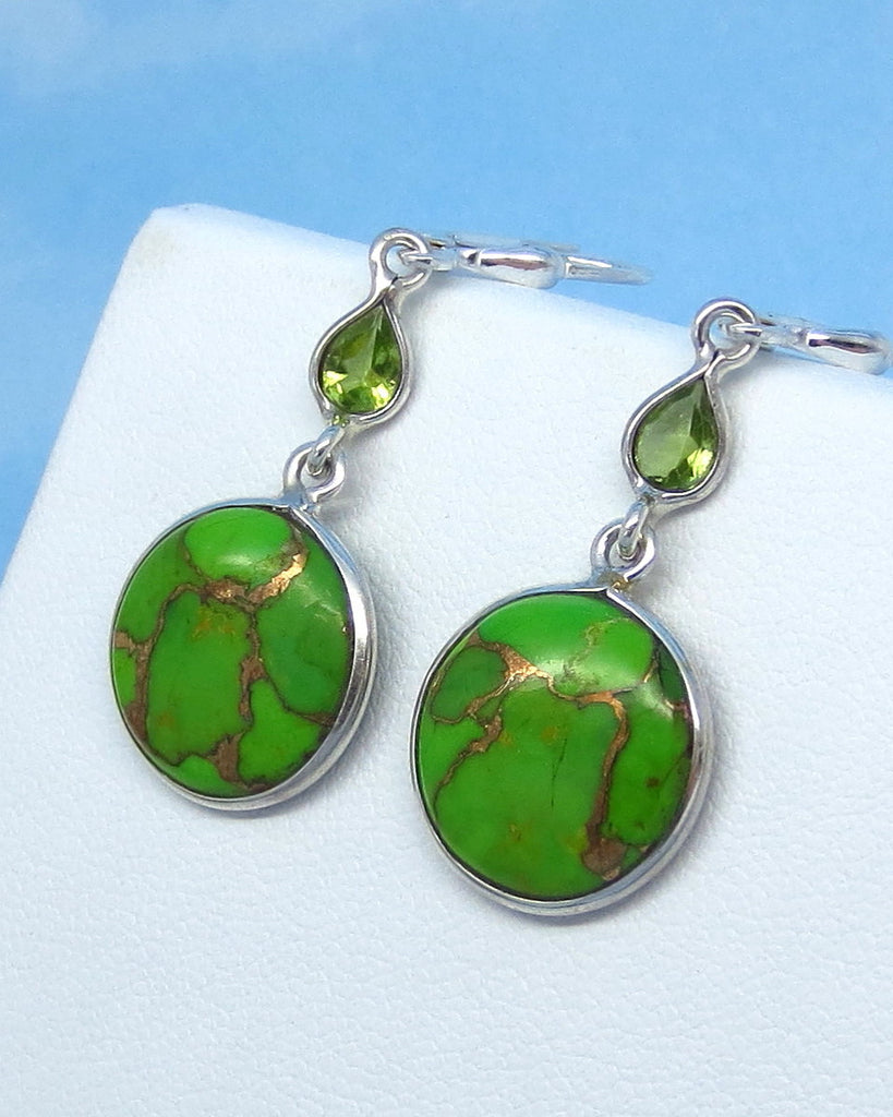 Mojave Green Copper Turquoise Earrings - Leverback - Sterling Silver - Peridot Accent - Small - Long - Genuine Natural Arizona - su161503