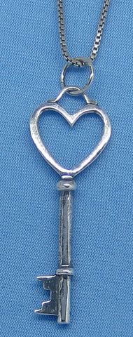 Sterling Silver Heart Key Pendant Necklace - 3D - Oxidized - Antiqued Finish - p150335