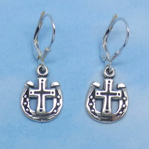 Sterling Silver Horseshoe and Cross Earrings - Leverback - Small - Rodeo - Barrel Racer - Cowboy - Cowgirl - Christian - Western - su150596