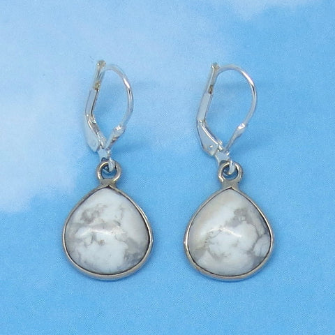 Small Howlite White Turquoise Earrings - Leverback - Sterling Silver - Pear Shape - Dainty Simple - Natural Genuine - White Buffalo SU171511
