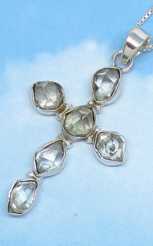 Large Herkimer Diamond Cross Necklace - Sterling Silver - Clear Quartz - Rock Crystal - Quartz Point - Natural - Genuine - jy171653