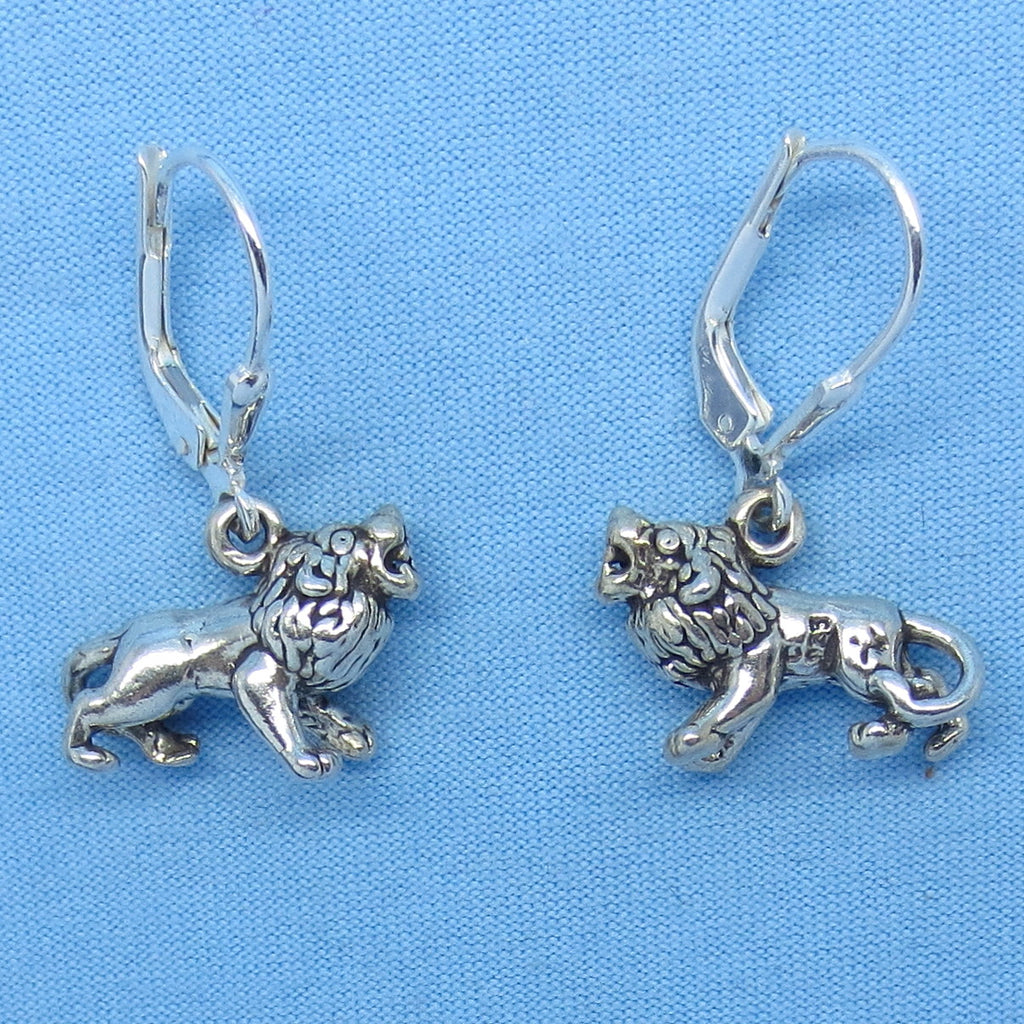 Sterling Silver Lion Earrings Leverback 3-D Leo L161273