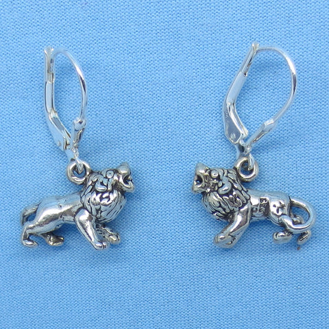 Sterling Silver Lion Earrings Leverback Artisan 3-D Leo Zodiac Horoscope L161273