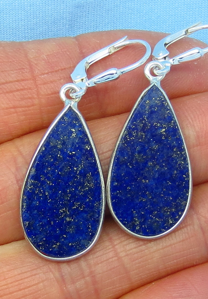 "1 3/4"" Genuine Natural Lapis Lazuli Leverback Earrings - Sterling Silver - Flat - Pear Shape #1 - Simple - 171401p"