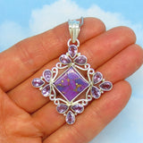 Large Natural Brazilian Amethyst & Mojave Purple Copper Turquoise Pendant Necklace - Sterling Silver - Filigree - jy182406-av39