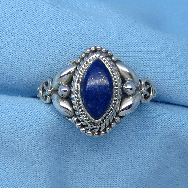 Size 6-1/4 Genuine Lapis Lazuli Ring - Sterling Silver - Marquise - Victorian Filigree Boho Design - Gothic Ring - 171203