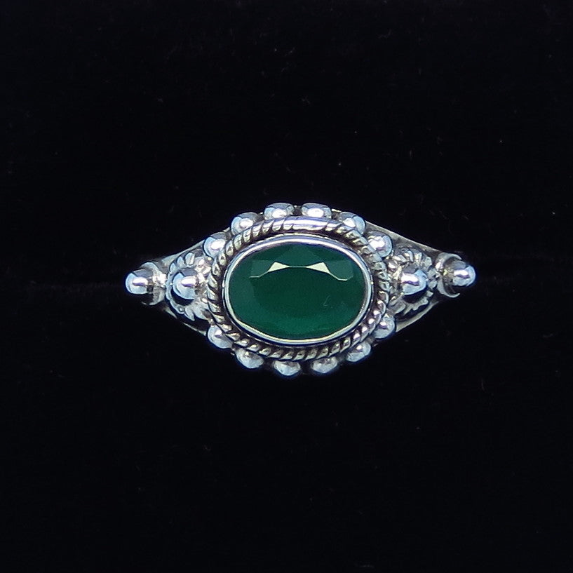.85ct Size 7 Genuine Emerald Ring - Sterling Silver - East-West Horizon - Victorian Filigree Bali Boho Gothic - Natural Emerald - sa161106
