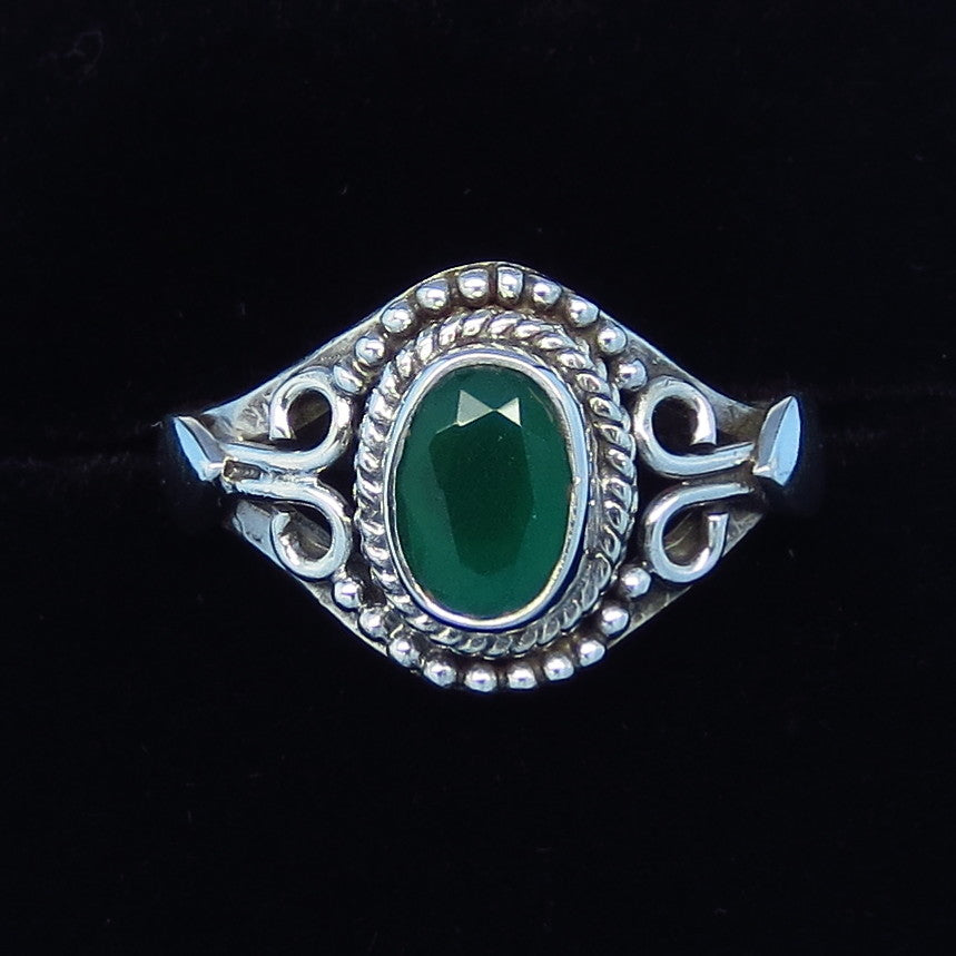 .85ct Size 7 Genuine Emerald Ring - Sterling Silver - Victorian Filigree Bali Boho Gothic - Natural Emerald - sa141108