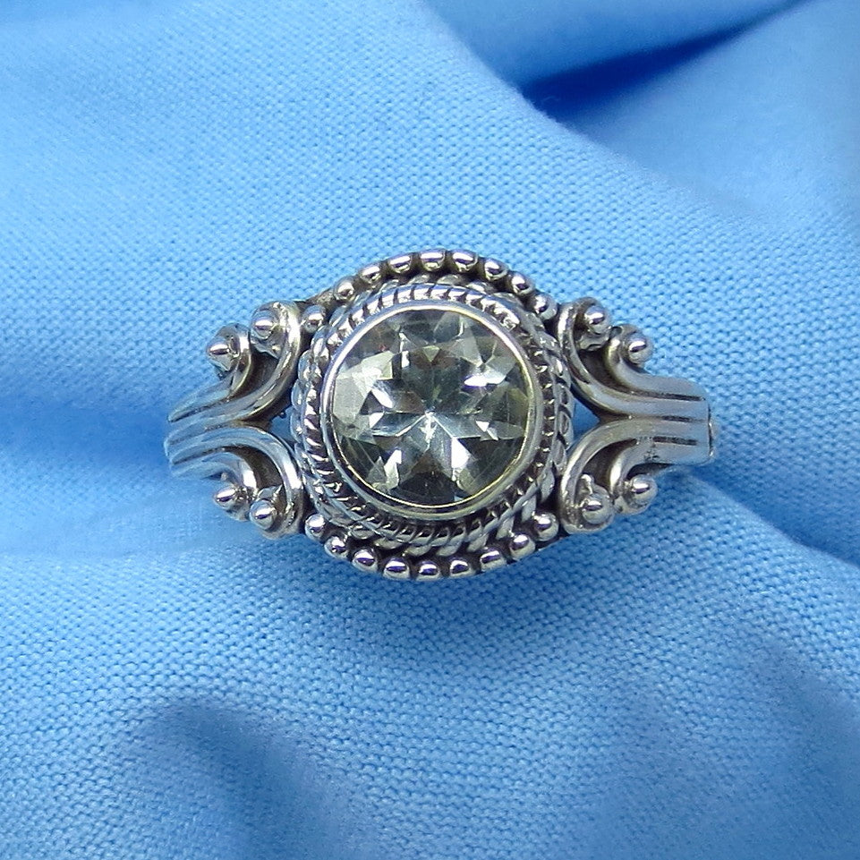 Size 7 Genuine Natural White Topaz Ring - Sterling Silver - 1.25ct - 7mm Round - Victorian Filigree Bali Design - sa181203-rd
