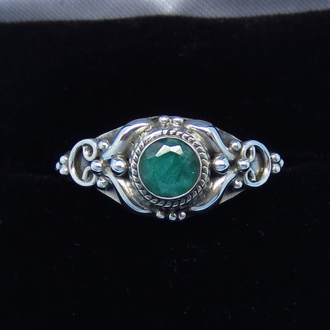 .48ct Size 9 Genuine Emerald Ring - Sterling Silver - Dainty - Tiny Gemstone - Victorian Filigree - Bali Design - Raw Emerald - p171258