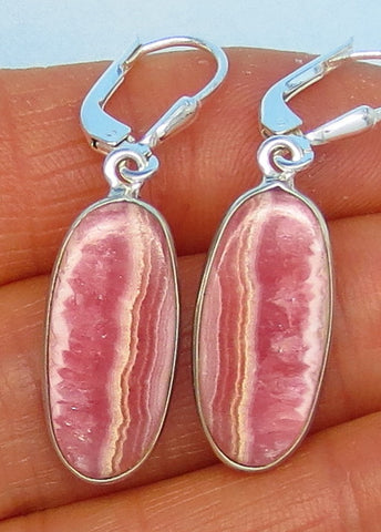 "Small Argentina Rhodochrosite Earrings - Leverback - Oval - 1-1/2"" Long Dangles - Genuine Rhodochrosite - Natural Rhodochrosite - 161806"