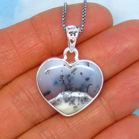 Merlinite Dendrite Opal Heart Necklace - Sterling Silver - Dendrite Agate - Dendritic Opal - Dendritic Agate - p171103