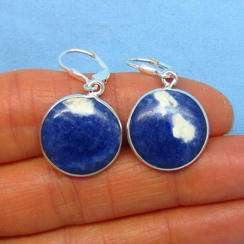 Small Montana Sodalite Earrings - Leverback - Sterling Silver - Round Disks - 171449