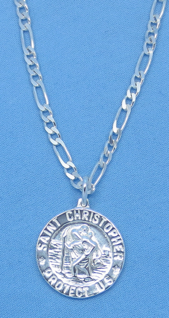 "24"" Men's 17.0g Sterling Silver St. Christopher Necklace - 24"" Figaro Chain Made in Italy - 20mm Round Medal - .925 - p150739 ch171229"