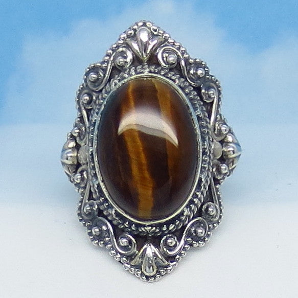 Size 5-3/4 Tiger Eye Ring - Sterling Silver - Victorian Filigree Design - Bali Boho Antique Design - Gothic Ring - Natural Genuine sa171758