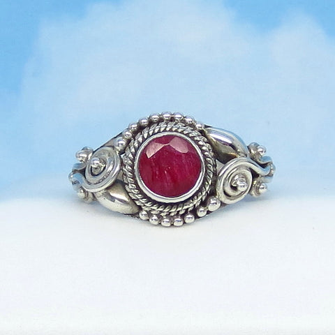 1.05ct Size 6-1/2 Natural Ruby Ring - Sterling Silver - Victorian Filigree Gothic - Bali Boho - 6mm Round - Genuine Raw Ruby - r0025-12