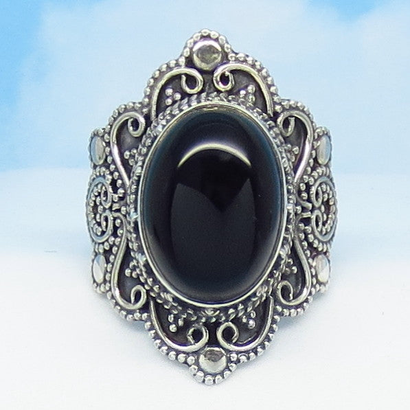 "Size 6.75 Natural Black Onyx Ring - Sterling Silver - 1-1/16"" Tall - Oval - Vintage Victorian Antique Filigree Design - SA181549-a2220"