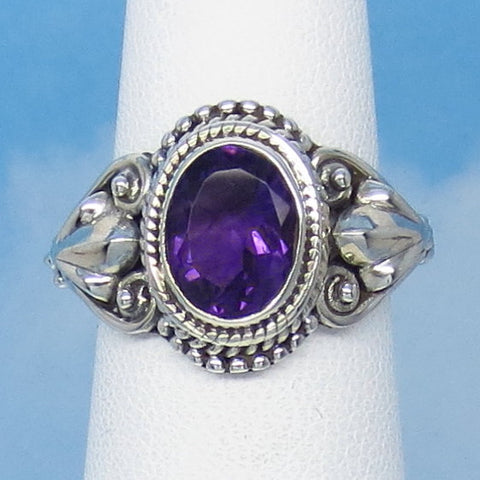 "1.75ct Size 6 Natural Amethyst Ring - Sterling Silver - Victorian Antique Design - Leaf Motif - 9 x 7mm Oval - 5/8"" Tall - jy161401ame"