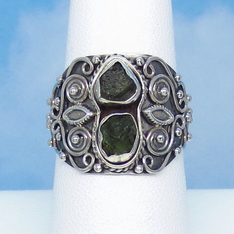 Size 7-1/2 Czech Moldavite Ring - Sterling Silver - Filigree - Wide - Artisan - Tektite - Meteorite - Natural Genuine - jy141259