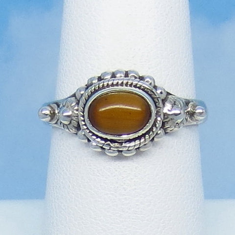 Dainty Size 7-1/2 Natural Tiger Eye Ring - Sterling Silver - East-West Horizon Ring - Boho Bali Vintage Design - 07-1301