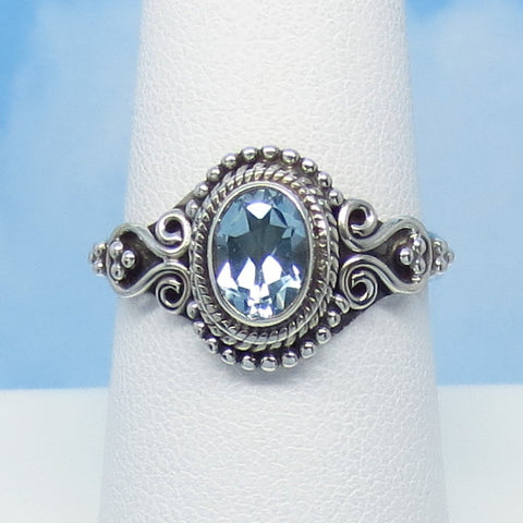 1.2ct Size 8-1/4 Natural Sky Blue Topaz Ring - Sterling Silver - Victorian Filigree Antique Design - Oval - 7 x 5mm Genuine jy181216