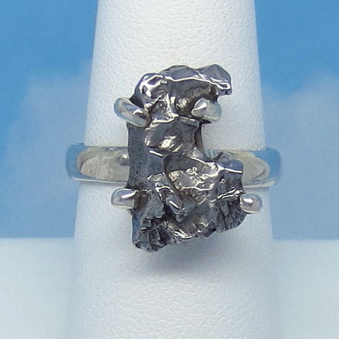 "Size 8 Meteorite Ring - Campo del Cielo - Argentina - Sterling Silver - 11/16"" Tall - 18 x 11mm Meteorite - m261603"