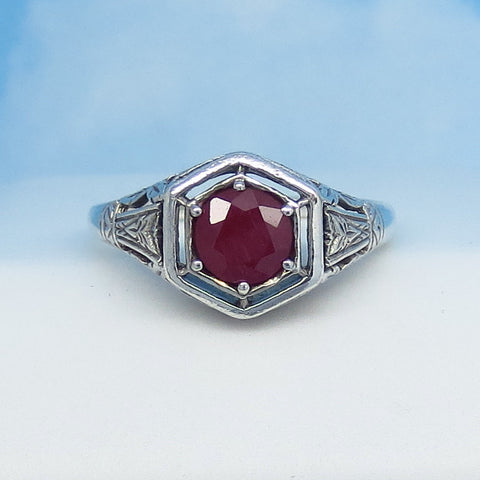 1.05ct - Size 8 Natural Ruby Ring - Sterling Silver - Victorian Filigree Reproduction - Genuine Ruby - 6mm - Hexagon - Art Nouveau Art Deco