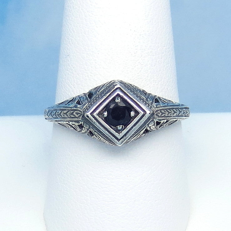 Size 9-3/4 Genuine Natural Sapphire Ring - Sterling Silver - Victorian Filigree Art Nouveau Deco Reproduction Gothic - Geometric - 0015-02
