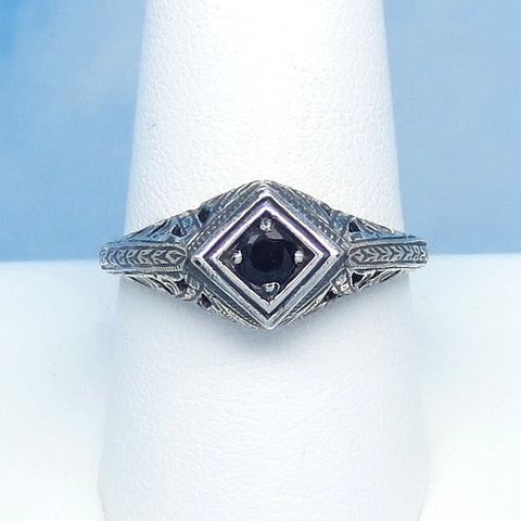 Size 8-3/4 Genuine Natural Sapphire Ring - Sterling Silver - Victorian Filigree Art Nouveau Deco Reproduction Gothic - Geometric - 0015-02