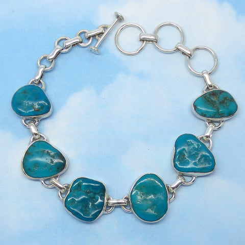 "Natural Arizona Turquoise Nugget Bracelet - Sterling Silver - Artisan - Genuine Arizona Turquoise - Adjustable 7"" to 8-1/2"" - jy362801"