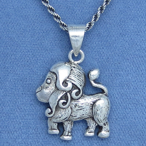 Leo Lion Necklace - Sterling Silver - Antiqued Rope Chain - Astrology - Big Cat -- L251035