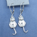 Moving Tails Kitty Cat Leverback Earrings Sterling Silver - Handmade -- 161207